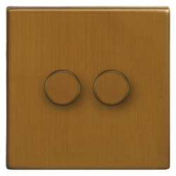 Focus SB Morpheus MBA21.2 2 gang 2 way 250W (mains and low voltage) dimmer in Bronze Antique