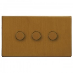 Focus SB Morpheus MBA21.3 3 gang 2 way 250W (mains and low voltage) dimmer in Bronze Antique