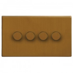 Focus SB Morpheus MBA21.4 4 gang 2 way 250W (mains and low voltage) dimmer in Bronze Antique