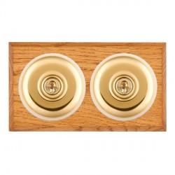 Hamilton Bloomsbury Chamfered Medium Oak Plain Polished Brass 2 Gang Intermediate Toggle with White Inser...