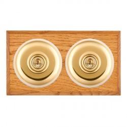 Hamilton Bloomsbury Chamfered Medium Oak Plain Polished Brass 2 Gang Intermediate Toggle with White Inser...