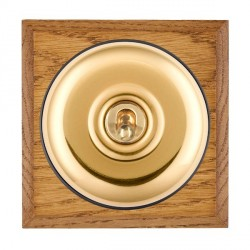Hamilton Bloomsbury Chamfered Medium Oak Plain Polished Brass 1 Gang Double Pole Toggle with Black Insert