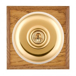 Hamilton Bloomsbury Chamfered Medium Oak Plain Polished Brass 1 Gang Double Pole Toggle with White Insert