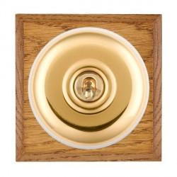 Hamilton Bloomsbury Chamfered Medium Oak Plain Polished Brass 1 Gang Double Pole Toggle with White Insert