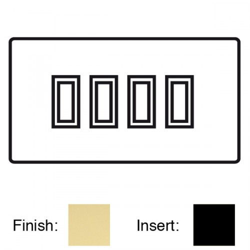 focus sb mayfair mlf11 4b 4 gang 20 amp 2 way rocker switch in polished brass with black inserts