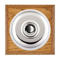 Hamilton Bloomsbury Chamfered Medium Oak Plain Bright Chrome Bell Push Toggle with White Insert