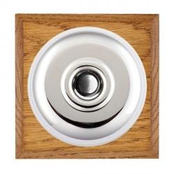 Hamilton Bloomsbury Chamfered Medium Oak Plain Bright Chrome Bell Push Toggle with White Insert