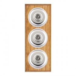 Hamilton Bloomsbury Chamfered Medium Oak Plain Bright Chrome 3 Gang 2 Way Toggle with White Insert