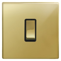Focus SB Morpheus MPB11.1B 1 gang 20 amp 2 way rocker switch in Polished Brass with black inserts