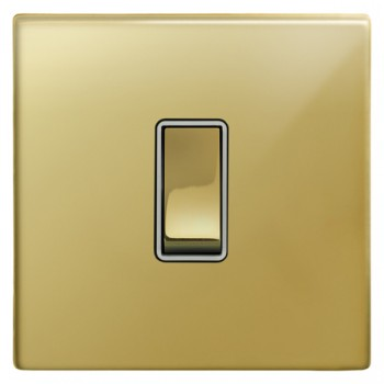 Focus SB Morpheus MPB11.1W 1 gang 20 amp 2 way rocker switch in Polished Brass with white inserts