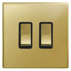 Focus SB Morpheus MPB11.2B 2 gang 20 amp 2 way rocker switch in Polished Brass with black inserts