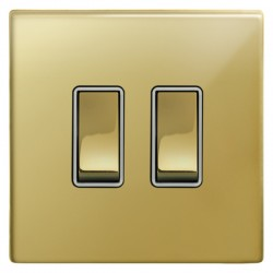 Focus SB Morpheus MPB11.2W 2 gang 20 amp 2 way rocker switch in Polished Brass with white inserts