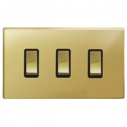 Focus SB Morpheus MPB11.3B 3 gang 20 amp 2 way rocker switch in Polished Brass with black inserts