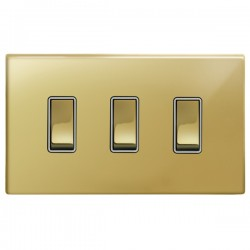 Focus SB Morpheus MPB11.3W 3 gang 20 amp 2 way rocker switch in Polished Brass with white inserts