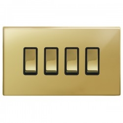 Focus SB Morpheus MPB11.4B 4 gang 20 amp 2 way rocker switch in Polished Brass with black inserts