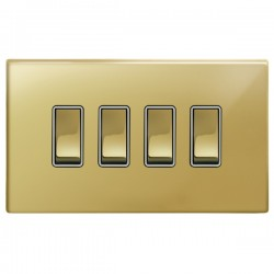 Focus SB Morpheus MPB11.4W 4 gang 20 amp 2 way rocker switch in Polished Brass with white inserts