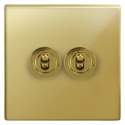 Focus SB Morpheus MPB14.2 2 gang 20 amp 2 way toggle switch in Polished Brass