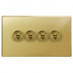 Focus SB Morpheus MPB14.4 4 gang 20 amp 2 way toggle switch in Polished Brass
