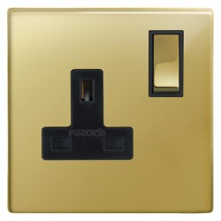 Focus SB Morpheus MPB18.1B 1 gang 13 amp switched socket in Polished Brass with black inserts