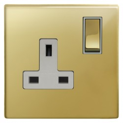 Focus SB Morpheus MPB18.1W 1 gang 13 amp switched socket in Polished Brass with white inserts