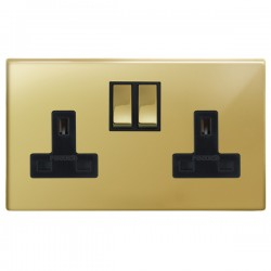 Focus SB Morpheus MPB18.2B 2 gang 13 amp switched socket in Polished Brass with black inserts
