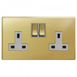 Focus SB Morpheus MPB18.2W 2 gang 13 amp switched socket in Polished Brass with white inserts