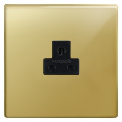 Focus SB Morpheus MPB19.1B 1 gang 2 amp unswitched socket in Polished Brass with black inserts