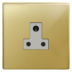Focus SB Morpheus MPB20.1W 1 gang 5 amp unswitched socket in Polished Brass with white inserts