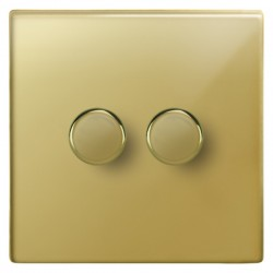 Focus SB Morpheus MPB21.2 2 gang 2 way 250W (mains and low voltage) dimmer in Polished Brass
