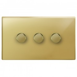 Focus SB Morpheus MPB21.3 3 gang 2 way 250W (mains and low voltage) dimmer in Polished Brass