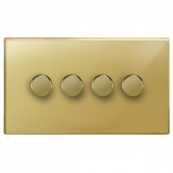 Focus SB Morpheus MPB21.4 4 gang 2 way 250W (mains and low voltage) dimmer in Polished Brass