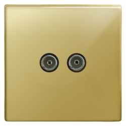 Focus SB Morpheus MPB23.2 2 gang isolated co-axial TV socket in Polished Brass