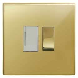 Focus SB Morpheus MPB26.1W 13 amp switched fuse spur in Polished Brass with white inserts