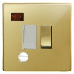 Focus SB Morpheus MPB29.1W 13 amp switched fuse spur with cord outlet and neon in Polished Brass with whi...