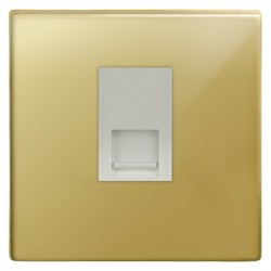 Focus SB Morpheus MPB51.1W 1 gang CAT5 RJ45 socket in Polished Brass with white inserts