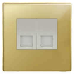 Focus SB Morpheus MPB51.2W 2 gang CAT5 RJ45 socket in Polished Brass with white inserts