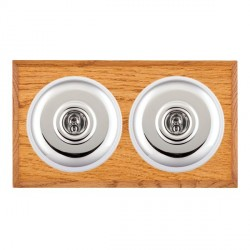 Hamilton Bloomsbury Chamfered Medium Oak Plain Bright Chrome 2 Gang Intermediate Toggle with White Insert