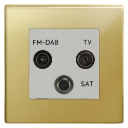 Focus SB Morpheus MPB80.3W triplex TV/FM/Satellite outlet in Polished Brass with white inserts