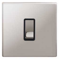 Focus SB Morpheus MPS11.1B 1 gang 20 amp 2 way rocker switch in Polished Stainless with black inserts
