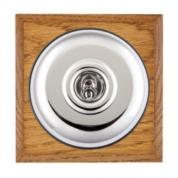 Hamilton Bloomsbury Chamfered Medium Oak Plain Bright Chrome 1 Gang Double Pole Toggle with Black Insert