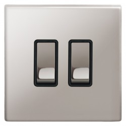 Focus SB Morpheus MPS11.2B 2 gang 20 amp 2 way rocker switch in Polished Stainless with black inserts