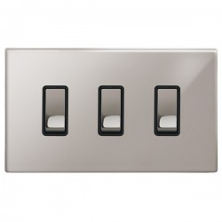 Focus SB Morpheus MPS11.3B 3 gang 20 amp 2 way rocker switch in Polished Stainless with black inserts