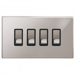 Focus SB Morpheus MPS11.4B 4 gang 20 amp 2 way rocker switch in Polished Stainless with black inserts