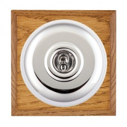 Hamilton Bloomsbury Chamfered Medium Oak Plain Bright Chrome 1 Gang Double Pole Toggle with White Insert