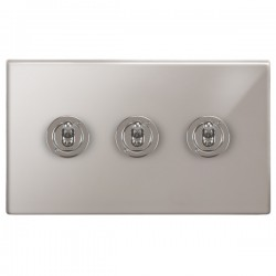 Focus SB Morpheus MPS14.3 3 gang 20 amp 2 way toggle switch in Polished Stainless