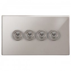 Focus SB Morpheus MPS14.4 4 gang 20 amp 2 way toggle switch in Polished Stainless