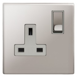 Focus SB Morpheus MPS18.1W 1 gang 13 amp switched socket in Polished Stainless with white inserts