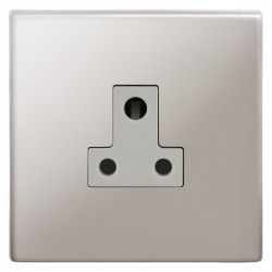 Focus SB Morpheus MPS20.1W 1 gang 5 amp unswitched socket in Polished Stainless with white inserts