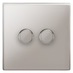 Focus SB Morpheus MPS21.2 2 gang 2 way 250W (mains and low voltage) dimmer in Polished Stainless