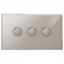 Focus SB Morpheus MPS21.3 3 gang 2 way 250W (mains and low voltage) dimmer in Polished Stainless